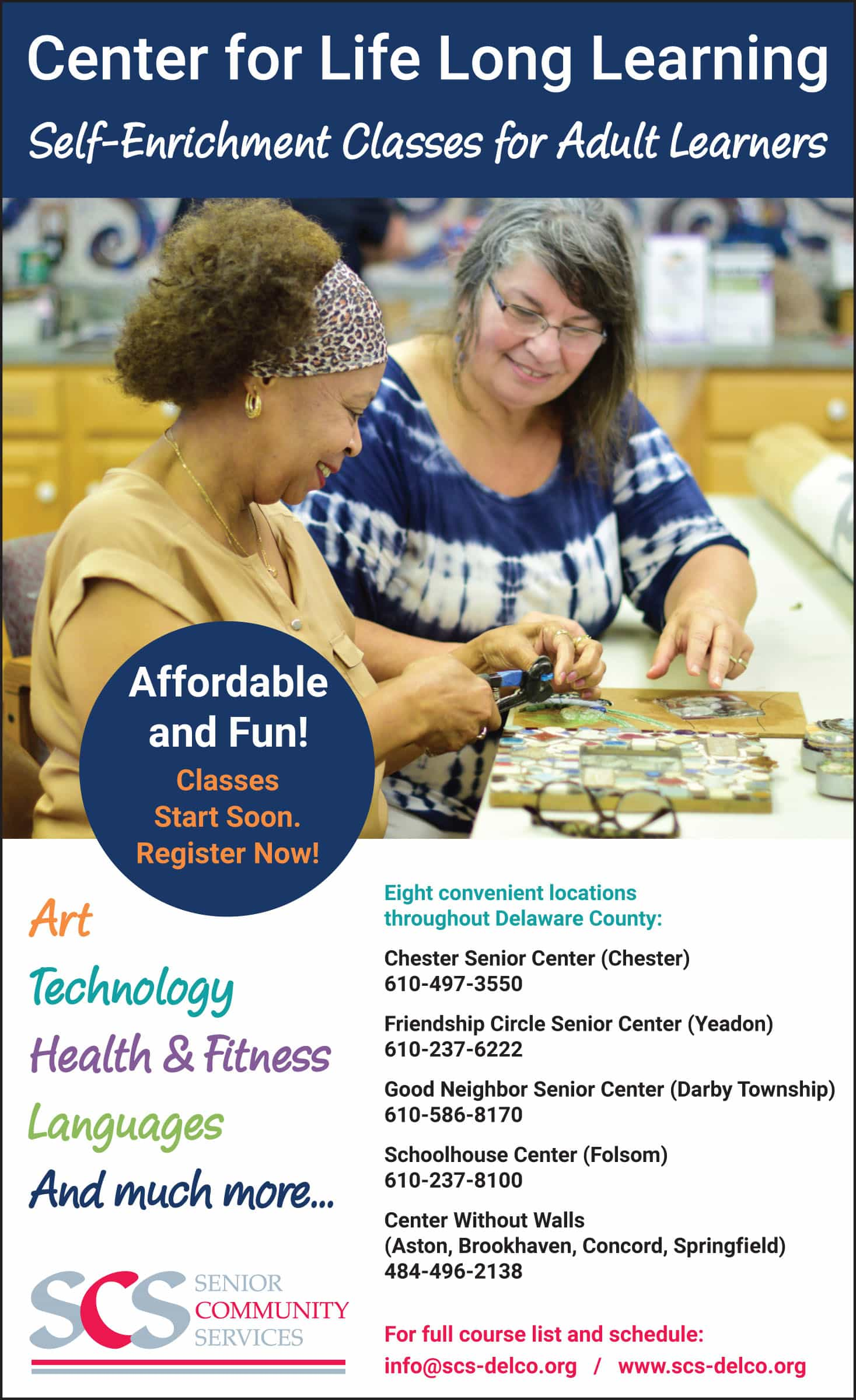 Newspaper ad for Senior Community Services (SCS) Center for Lifelong Learning