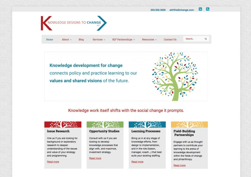 Knowledge Designs to Change KD2 Website